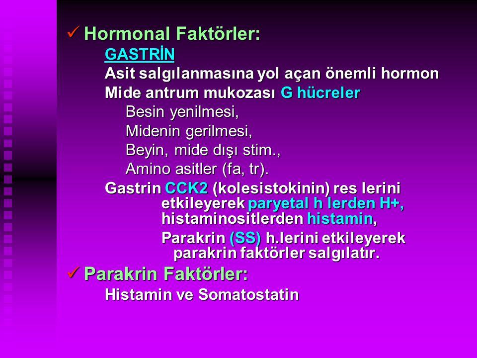 Hormonal Faktörler: Parakrin Faktörler: GASTRİN