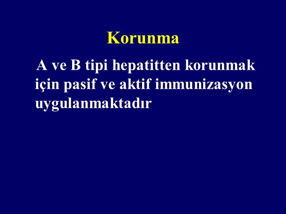 Korunma A ve B tipi hepatitten korunmak için pasif ve aktif immunizasyon uygulanmaktadır