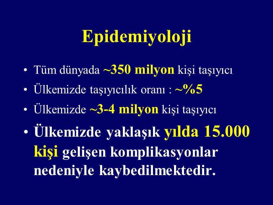 Epidemiyoloji Tüm dünyada ~350 milyon kişi taşıyıcı. Ülkemizde taşıyıcılık oranı : ~%5. Ülkemizde ~3-4 milyon kişi taşıyıcı.