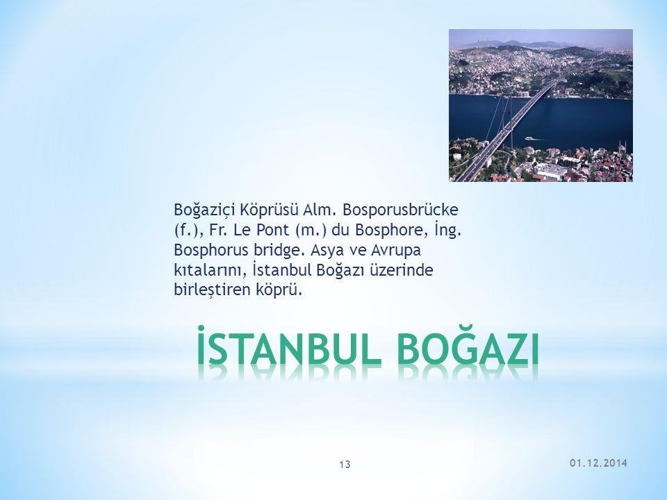 Boğaziçi Köprüsü Alm. Bosporusbrücke (f. ), Fr. Le Pont (m