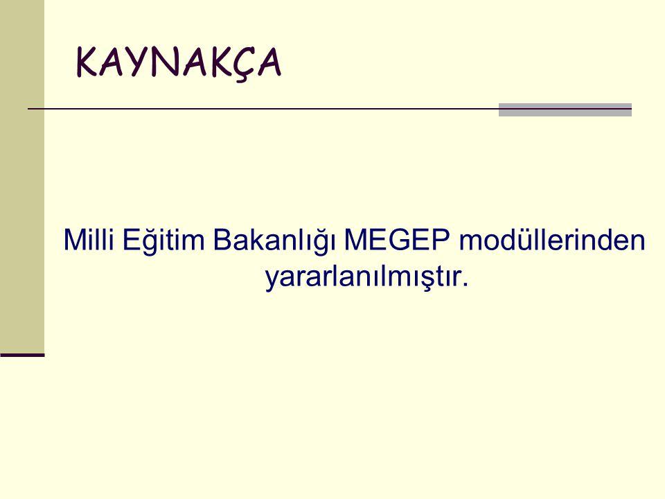 Milli Eğitim Bakanlığı MEGEP modüllerinden yararlanılmıştır.