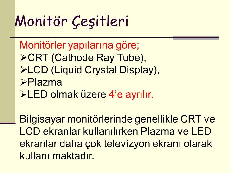Monitör Çeşitleri Monitörler yapılarına göre; CRT (Cathode Ray Tube),