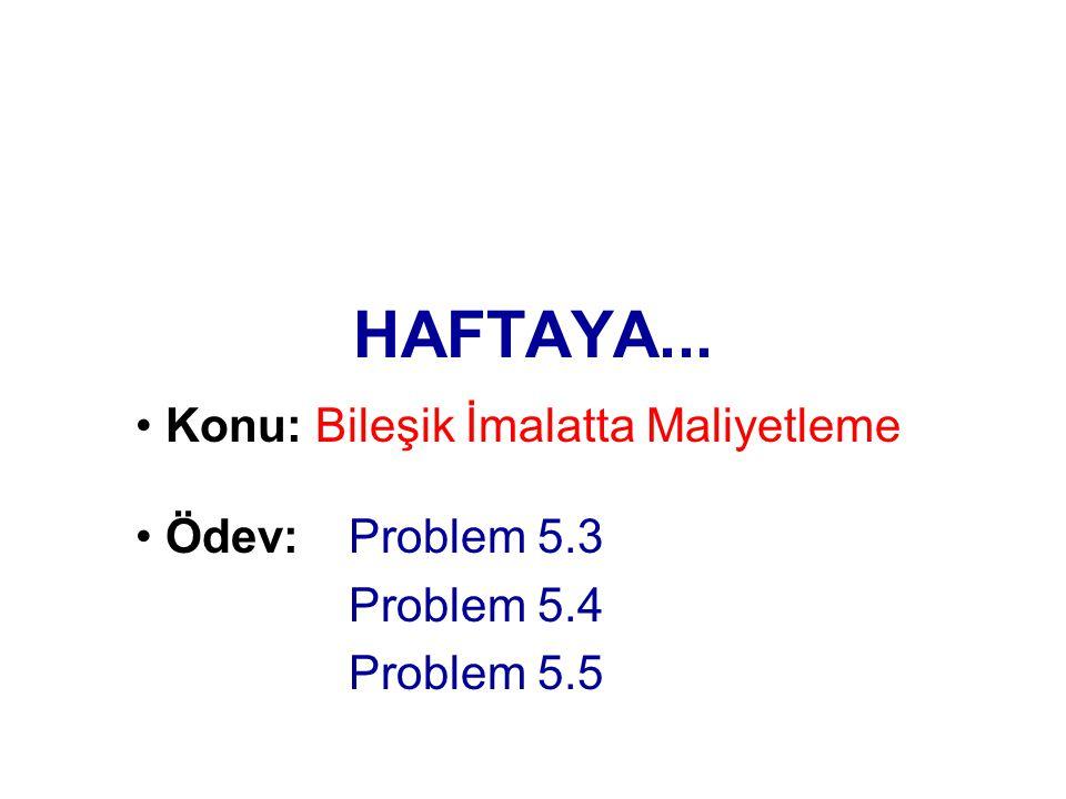 HAFTAYA... Konu: Bileşik İmalatta Maliyetleme Ödev: Problem 5.3