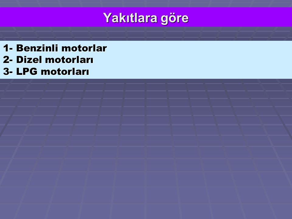 Yakıtlara göre 1- Benzinli motorlar 2- Dizel motorları