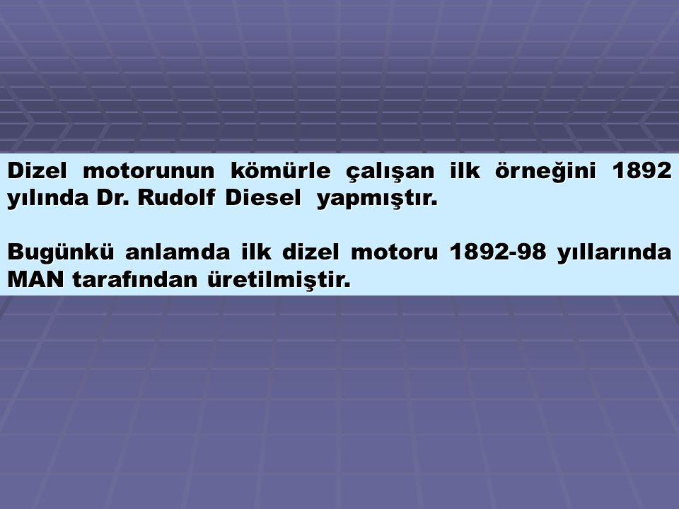 Dizel motorunun kömürle çalışan ilk örneğini 1892 yılında Dr
