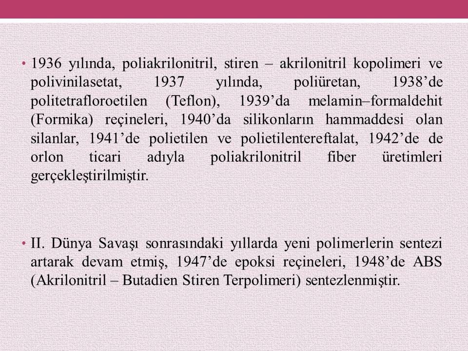 1936 yılında, poliakrilonitril, stiren – akrilonitril kopolimeri ve polivinilasetat, 1937 yılında, poliüretan, 1938'de politetrafloroetilen (Teflon), 1939'da melamin–formaldehit (Formika) reçineleri, 1940'da silikonların hammaddesi olan silanlar, 1941'de polietilen ve polietilentereftalat, 1942'de de orlon ticari adıyla poliakrilonitril fiber üretimleri gerçekleştirilmiştir.