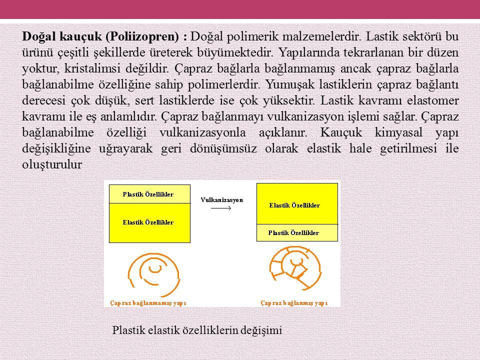 Doğal kauçuk (Poliizopren) : Doğal polimerik malzemelerdir