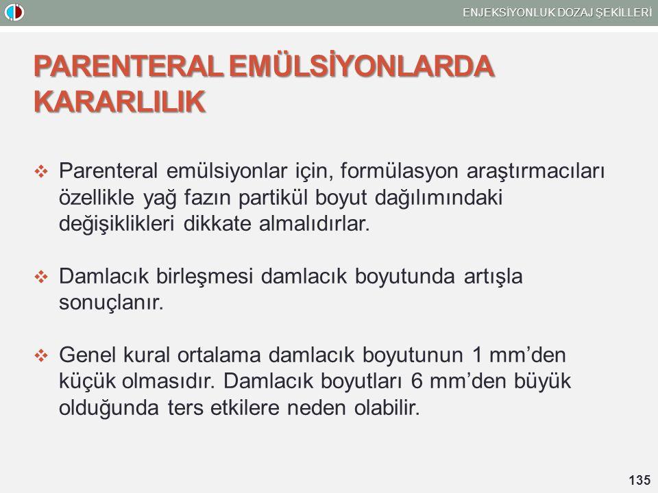 PARENTERAL EMÜLSİYONLARDA KARARLILIK