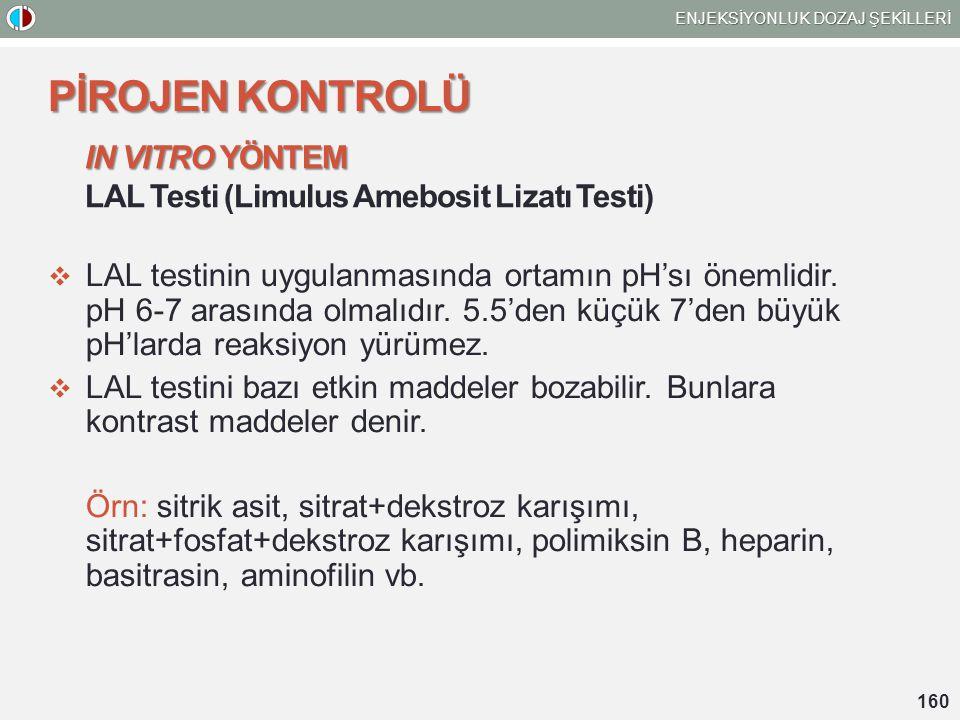 IN VITRO YÖNTEM LAL Testi (Limulus Amebosit Lizatı Testi)