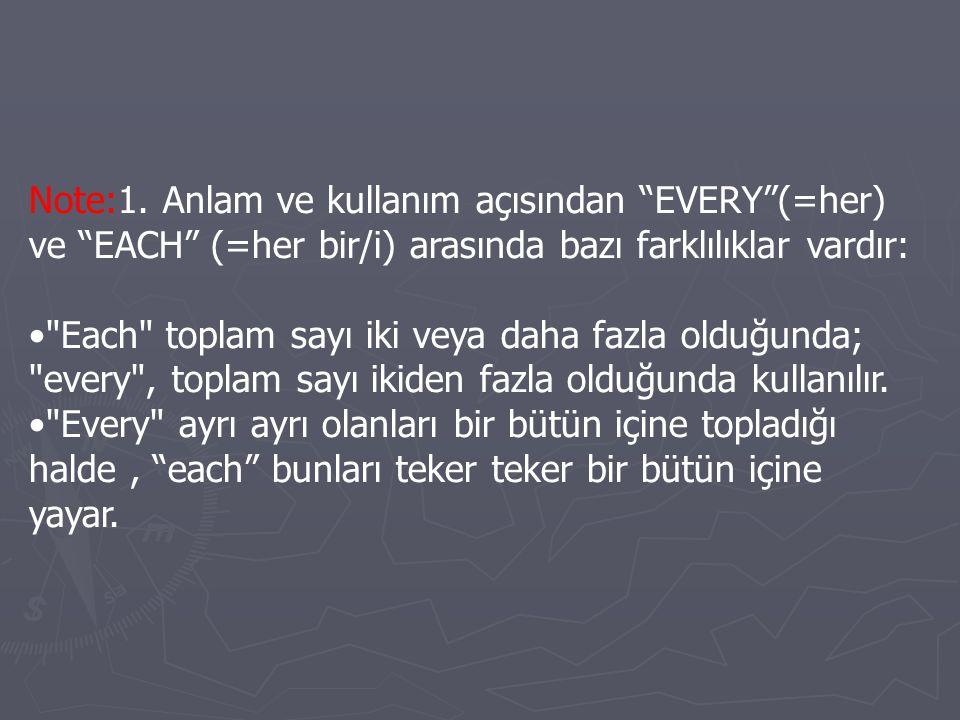 Note:1. Anlam ve kullanım açısından EVERY (=her) ve EACH (=her bir/i) arasında bazı farklılıklar vardır: