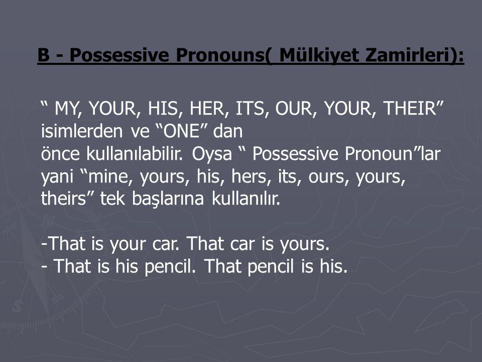 B - Possessive Pronouns( Mülkiyet Zamirleri):