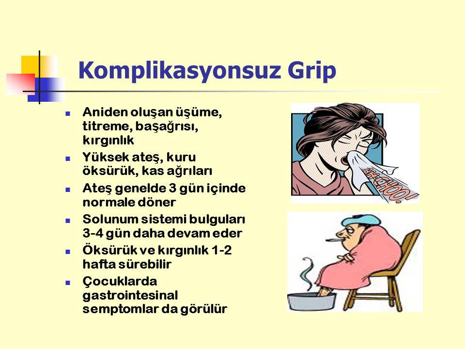 Komplikasyonsuz Grip Aniden oluşan üşüme, titreme, başağrısı, kırgınlık. Yüksek ateş, kuru öksürük, kas ağrıları.