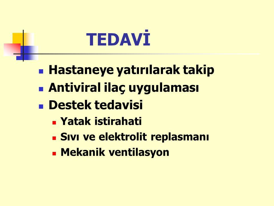 TEDAVİ Hastaneye yatırılarak takip Antiviral ilaç uygulaması