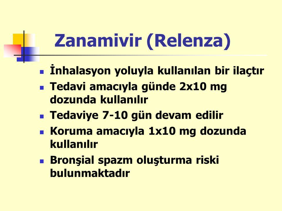 Zanamivir (Relenza) İnhalasyon yoluyla kullanılan bir ilaçtır