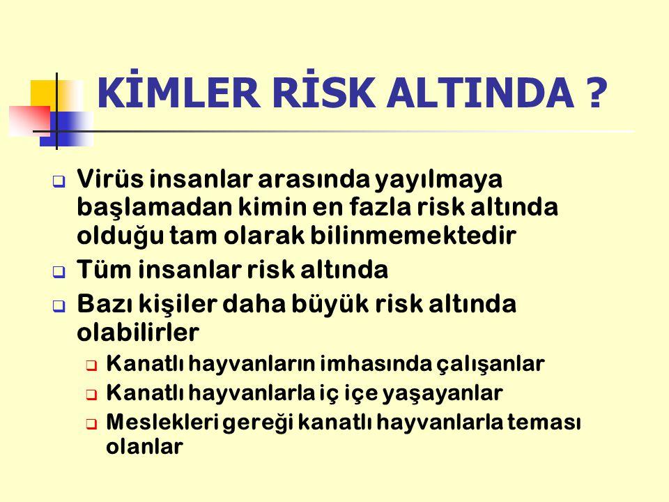 KİMLER RİSK ALTINDA Virüs insanlar arasında yayılmaya başlamadan kimin en fazla risk altında olduğu tam olarak bilinmemektedir.