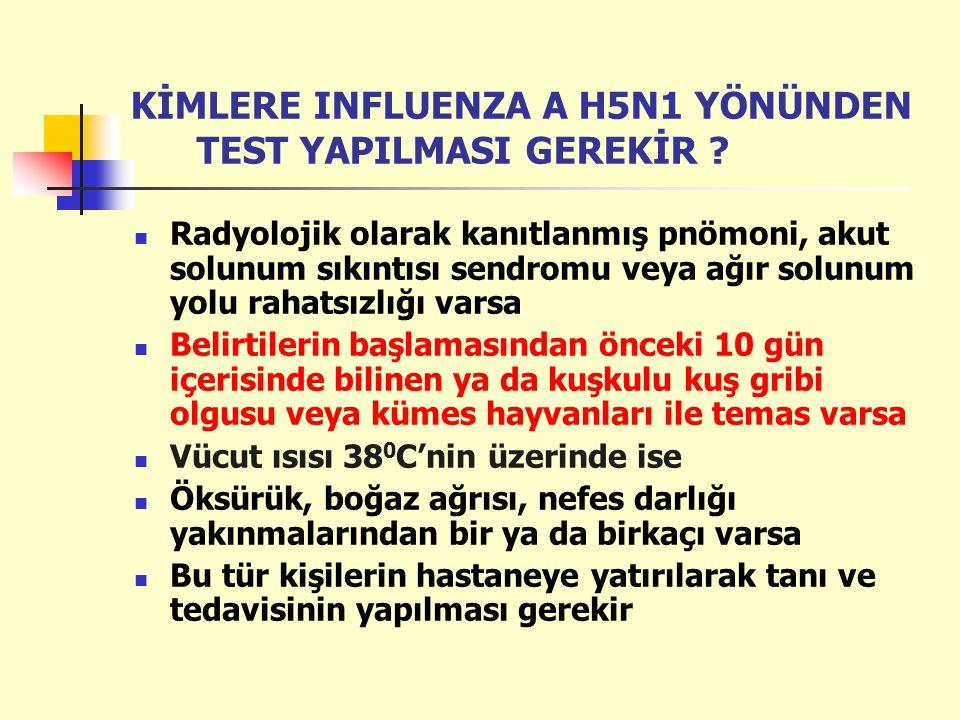 KİMLERE INFLUENZA A H5N1 YÖNÜNDEN TEST YAPILMASI GEREKİR