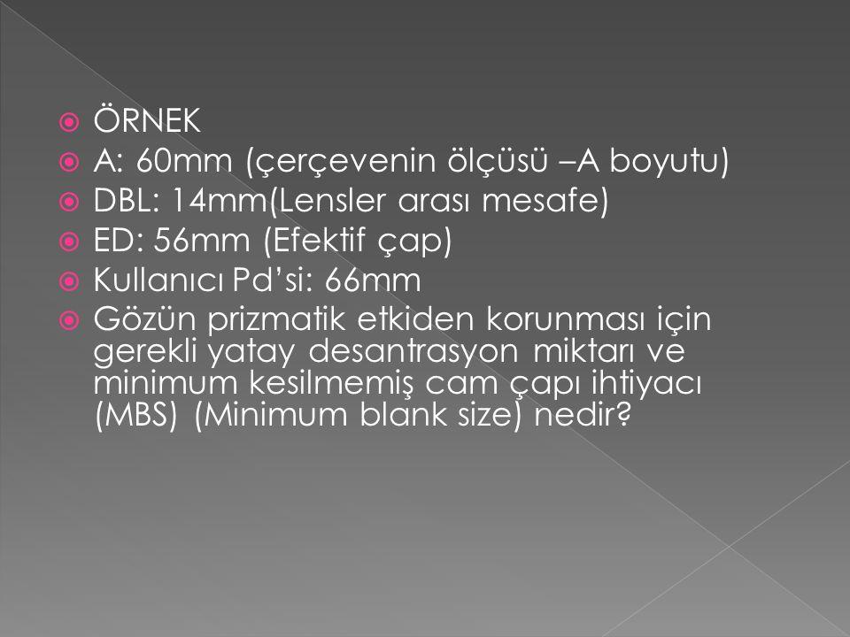 ÖRNEK. A: 60mm (çerçevenin ölçüsü –A boyutu) DBL: 14mm(Lensler arası mesafe) ED: 56mm (Efektif çap)