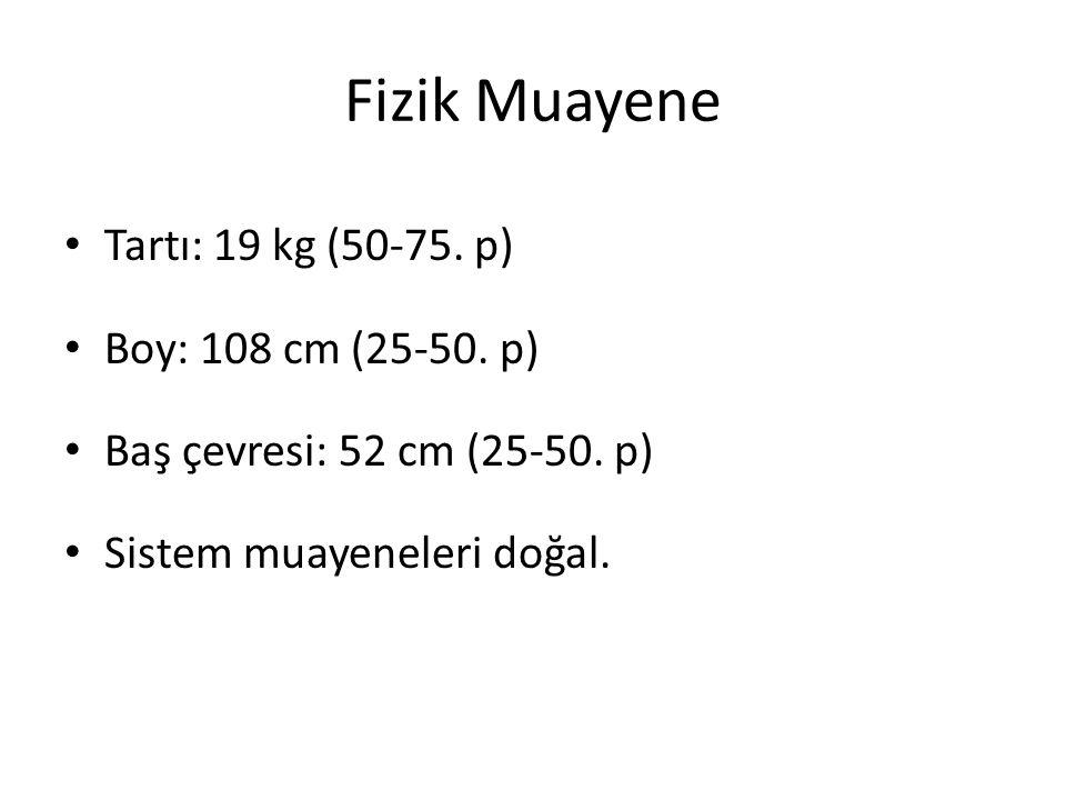 Fizik Muayene Tartı: 19 kg (50-75. p) Boy: 108 cm (25-50. p)