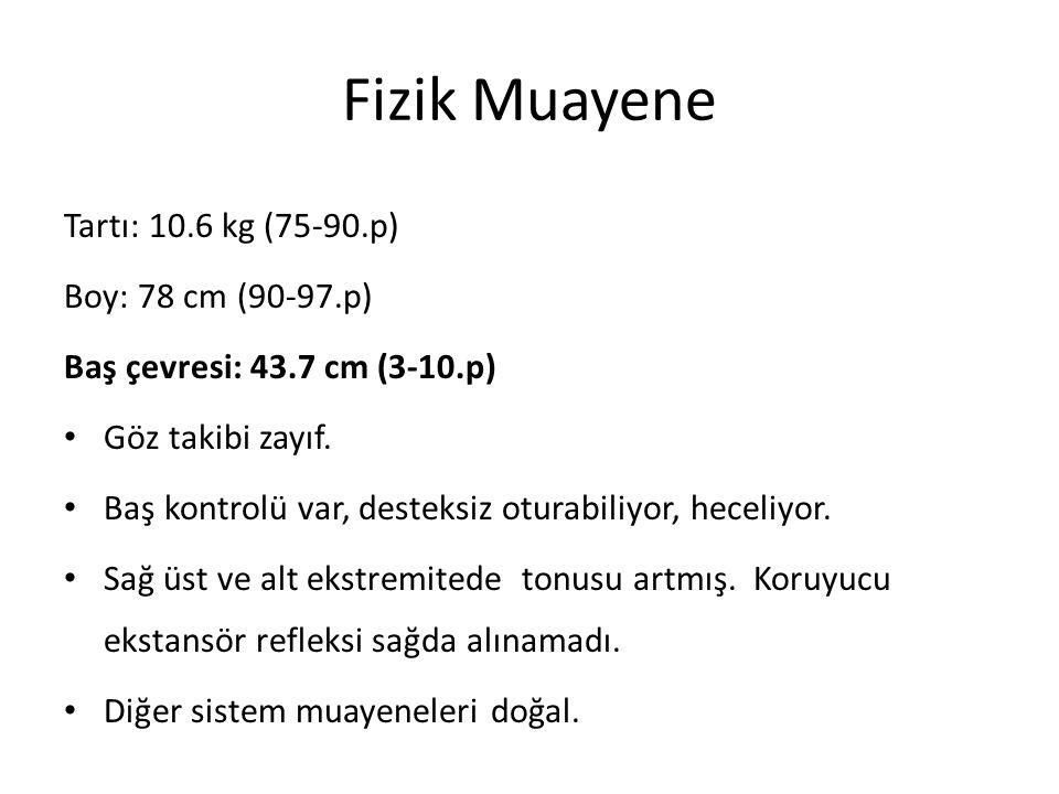 Fizik Muayene Tartı: 10.6 kg (75-90.p) Boy: 78 cm (90-97.p)