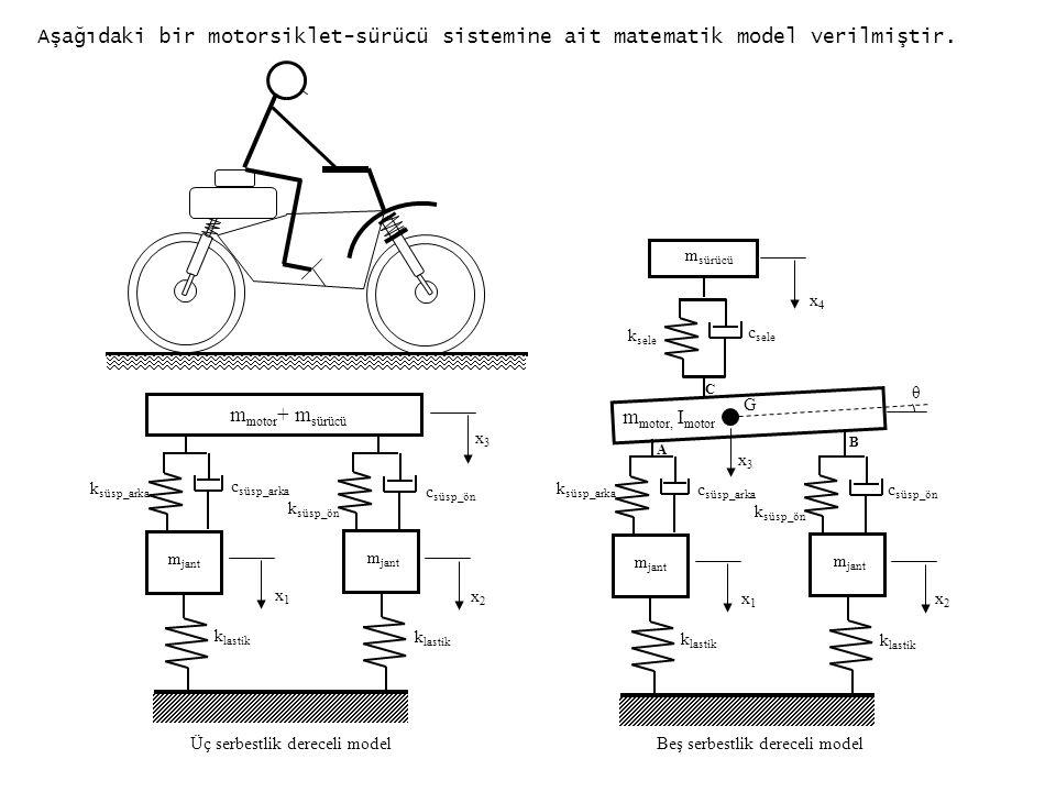 Aşağıdaki bir motorsiklet-sürücü sistemine ait matematik model verilmiştir.