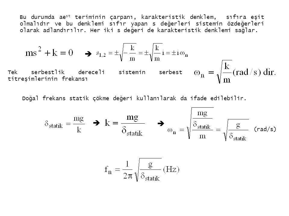 Bu durumda aest teriminin çarpanı, karakteristik denklem, sıfıra eşit olmalıdır ve bu denklemi sıfır yapan s değerleri sistemin özdeğerleri olarak adlandırılır. Her iki s değeri de karakteristik denklemi sağlar.