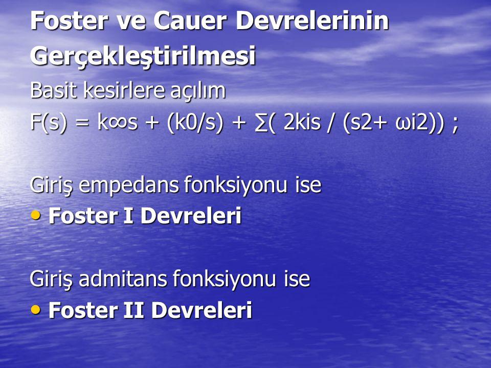 Foster ve Cauer Devrelerinin Gerçekleştirilmesi