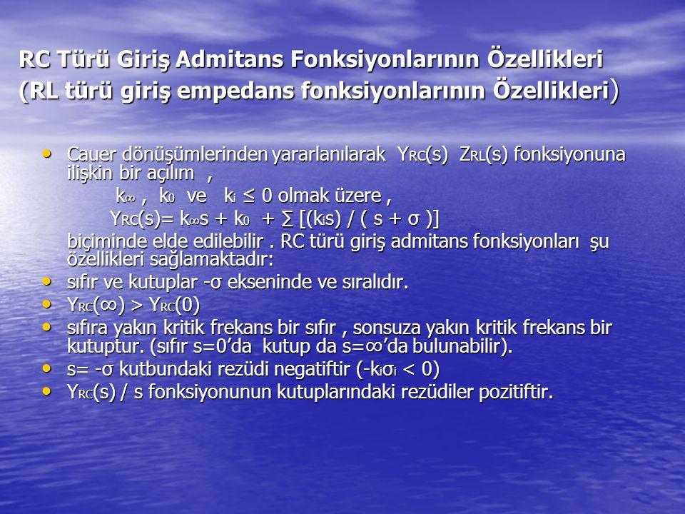 RC Türü Giriş Admitans Fonksiyonlarının Özellikleri (RL türü giriş empedans fonksiyonlarının Özellikleri)