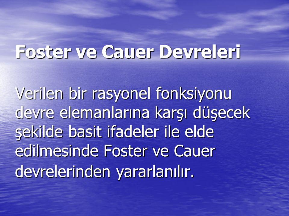 Foster ve Cauer Devreleri Verilen bir rasyonel fonksiyonu devre elemanlarına karşı düşecek şekilde basit ifadeler ile elde edilmesinde Foster ve Cauer devrelerinden yararlanılır.
