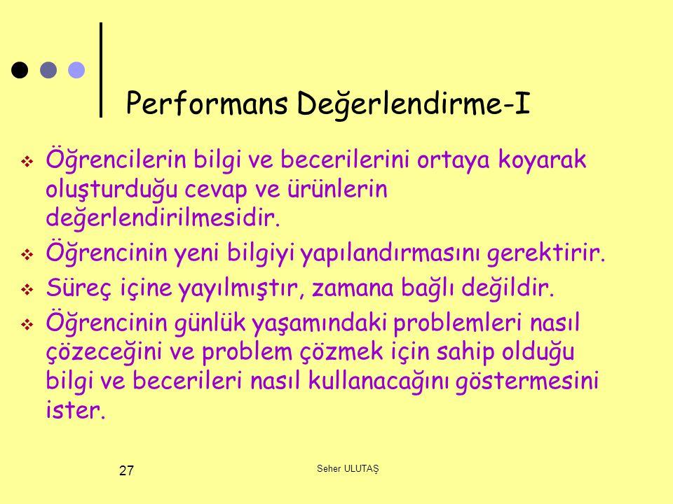 Performans Değerlendirme-I