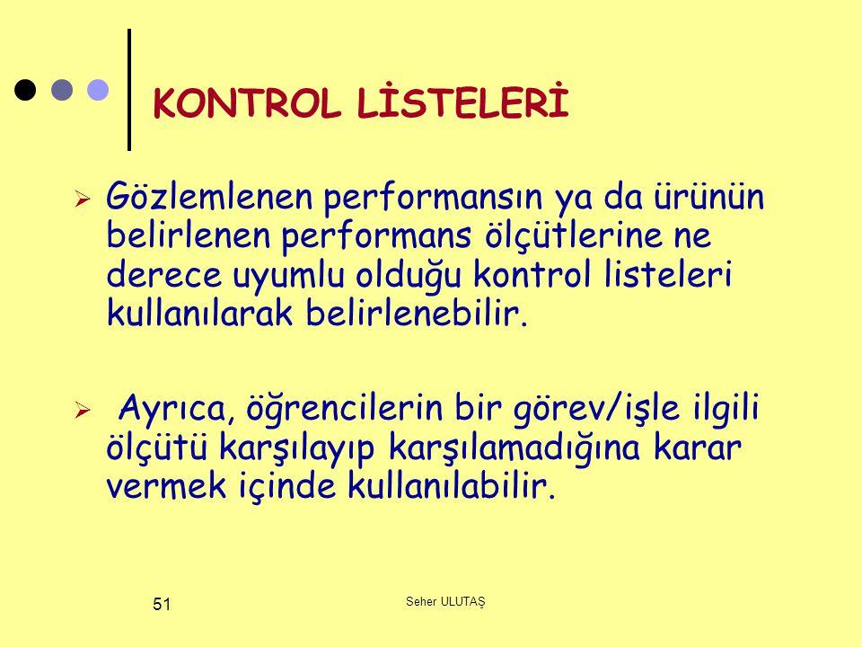 KONTROL LİSTELERİ