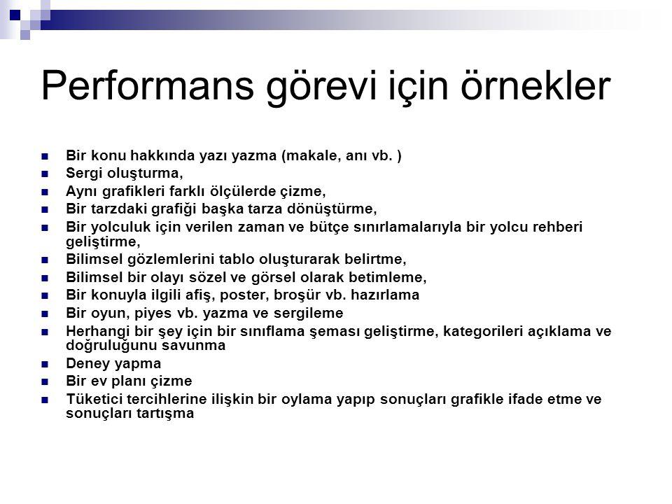 Performans görevi için örnekler