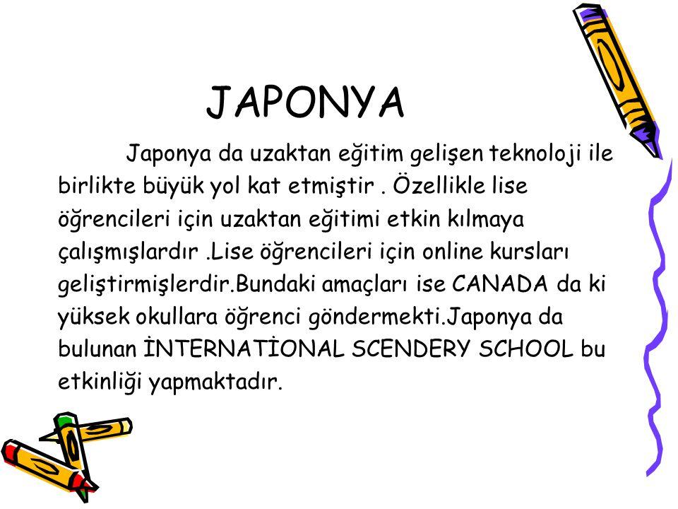 JAPONYA Japonya da uzaktan eğitim gelişen teknoloji ile