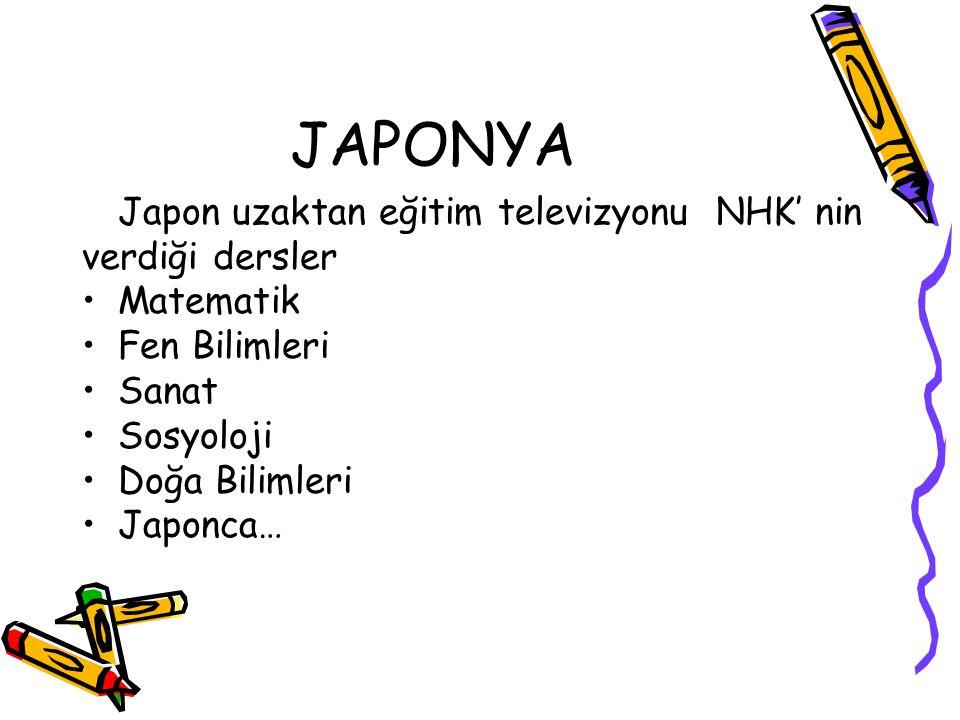 JAPONYA Japon uzaktan eğitim televizyonu NHK' nin verdiği dersler