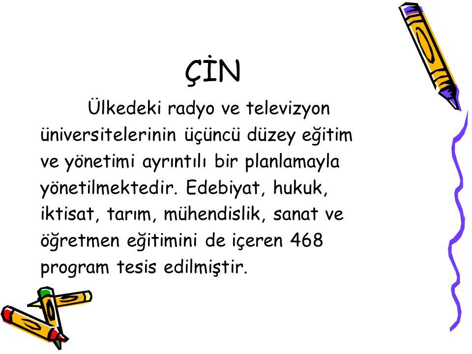 ÇİN Ülkedeki radyo ve televizyon üniversitelerinin üçüncü düzey eğitim