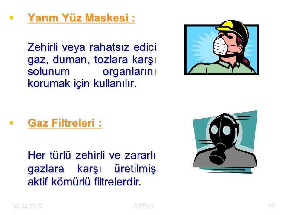 Yarım Yüz Maskesi : Zehirli veya rahatsız edici gaz, duman, tozlara karşı solunum organlarını korumak için kullanılır.