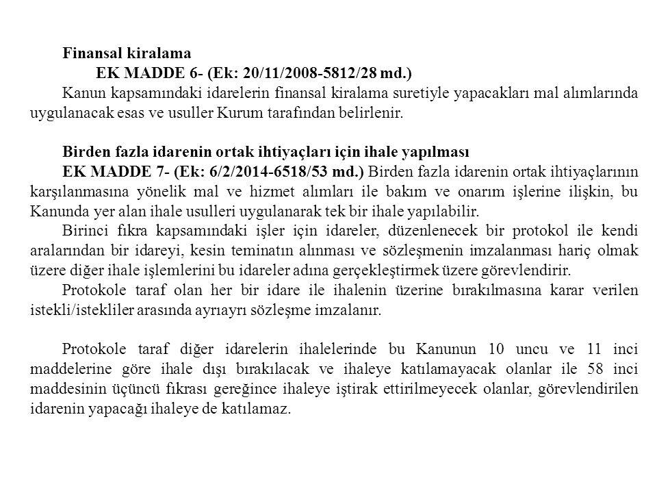 Finansal kiralama EK MADDE 6- (Ek: 20/11/2008-5812/28 md.)