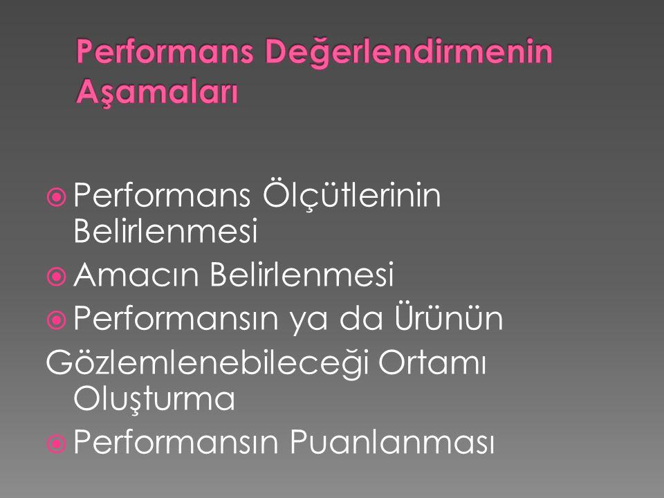 Performans Değerlendirmenin Aşamaları
