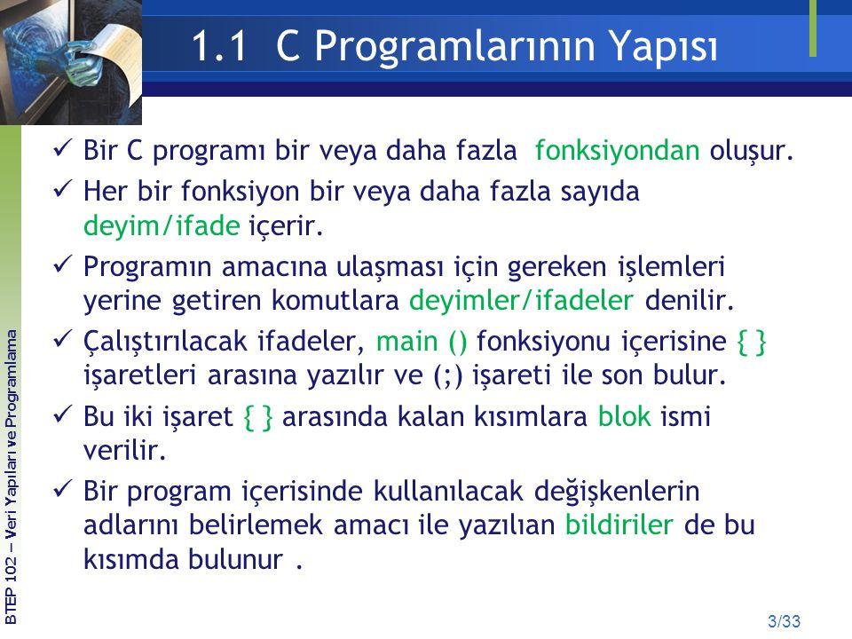 1.1 C Programlarının Yapısı