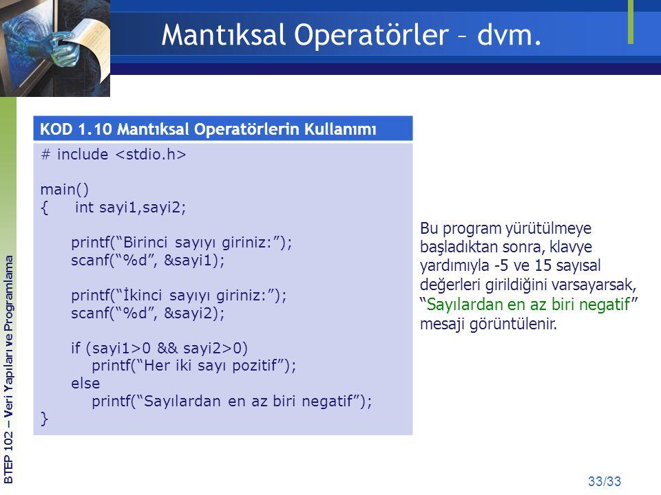 Mantıksal Operatörler – dvm.