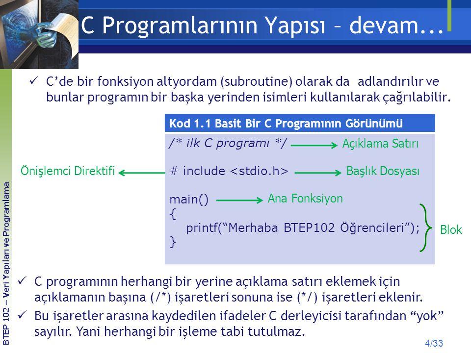 C Programlarının Yapısı – devam...