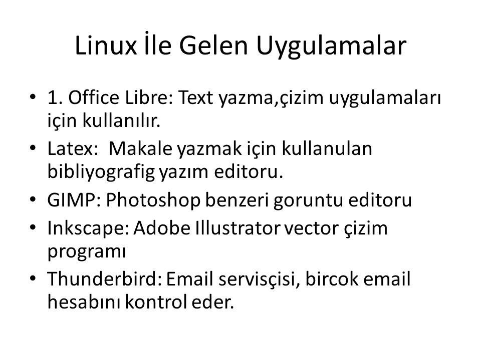 Linux İle Gelen Uygulamalar