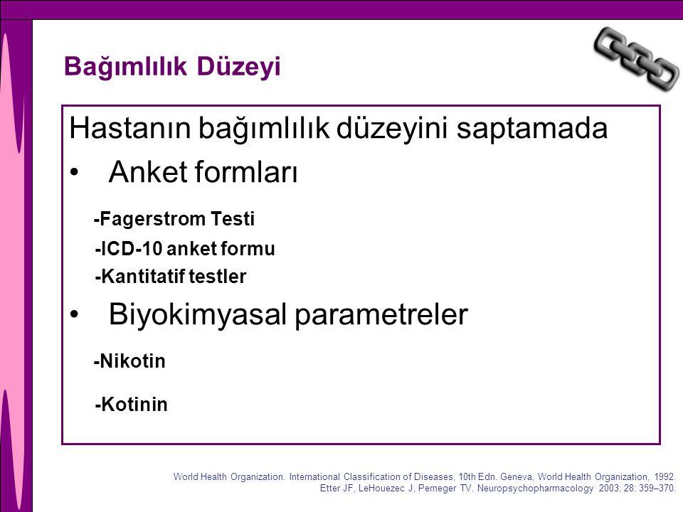 Hastanın bağımlılık düzeyini saptamada Anket formları
