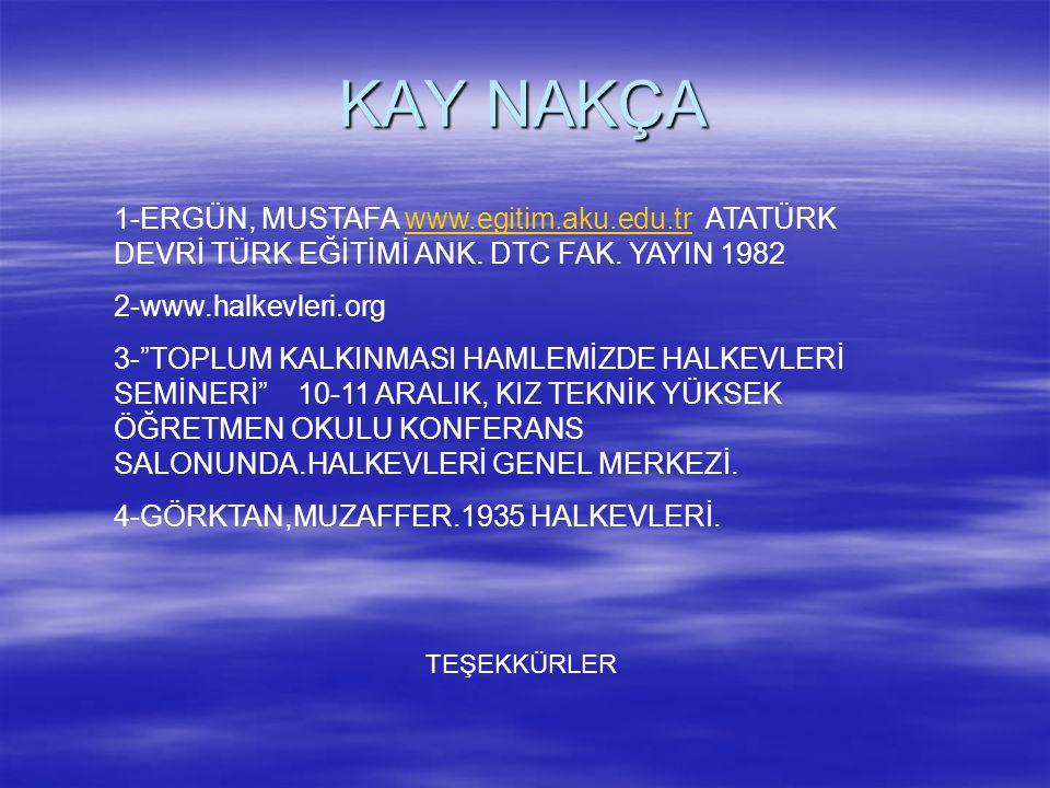 KAY NAKÇA 1-ERGÜN, MUSTAFA www.egitim.aku.edu.tr ATATÜRK DEVRİ TÜRK EĞİTİMİ ANK. DTC FAK. YAYIN 1982.