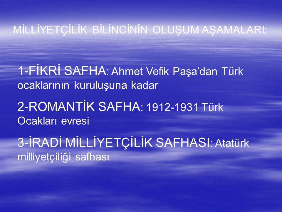 1-FİKRİ SAFHA: Ahmet Vefik Paşa'dan Türk ocaklarının kuruluşuna kadar
