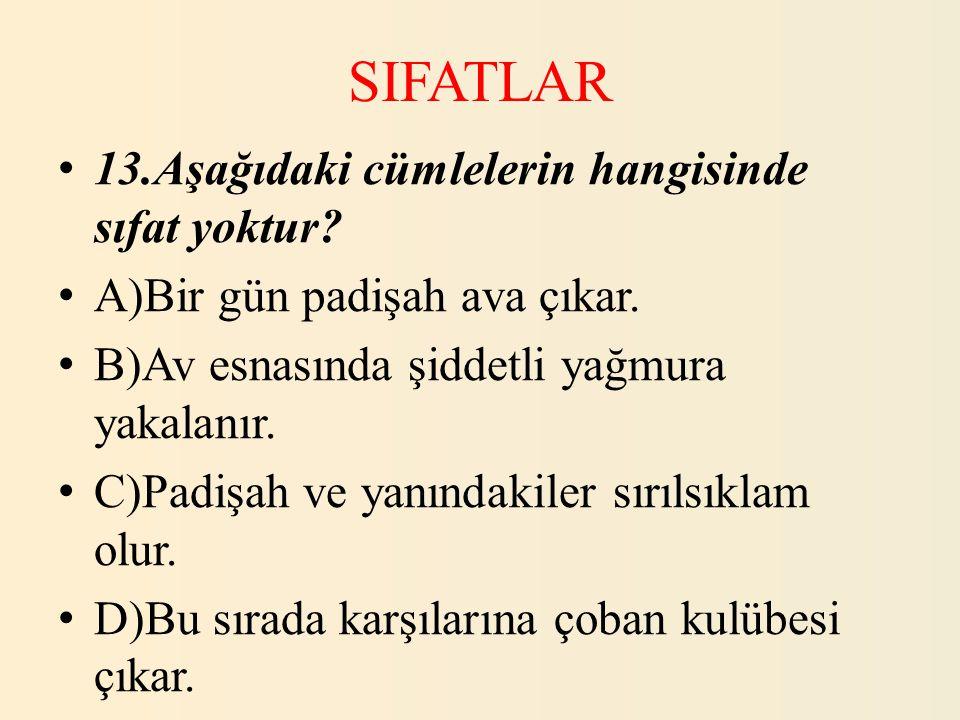 SIFATLAR 13.Aşağıdaki cümlelerin hangisinde sıfat yoktur
