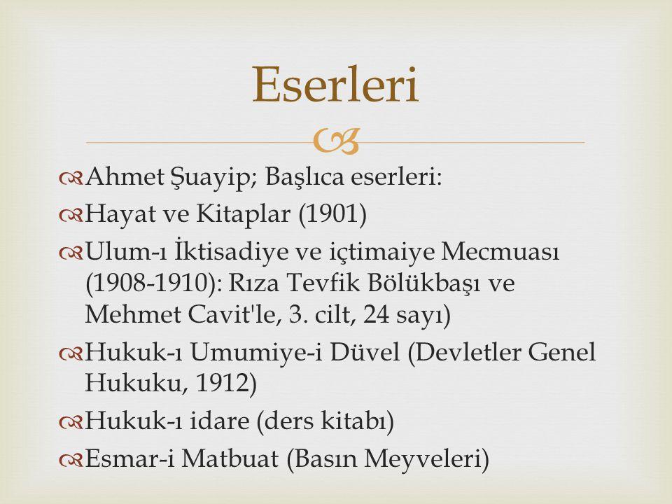 Eserleri Ahmet Şuayip; Başlıca eserleri: Hayat ve Kitaplar (1901)