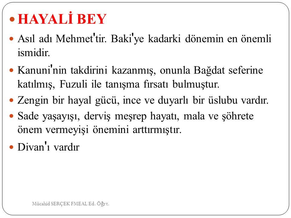 HAYALİ BEY Asıl adı Mehmet tir. Baki ye kadarki dönemin en önemli ismidir.