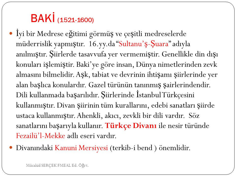 BAKİ (1521-1600)