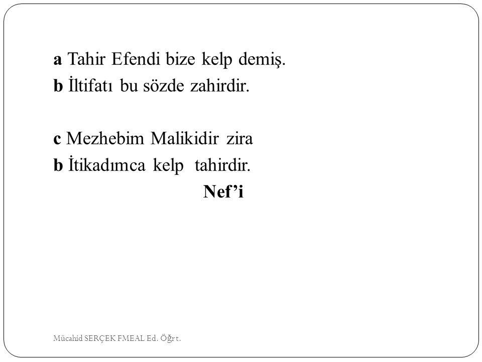 a Tahir Efendi bize kelp demiş. b İltifatı bu sözde zahirdir.