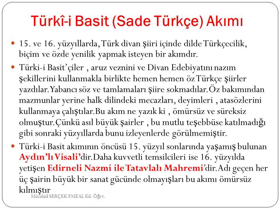 Türkî-i Basit (Sade Türkçe) Akımı